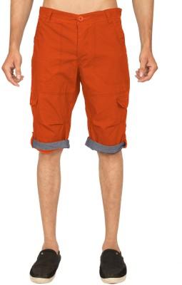 Truccer Basics Solid Men's Orange Cargo Shorts