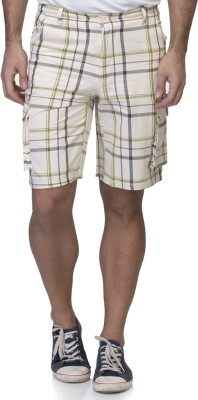 La Attire Checkered Men's White Beach Shorts, Night Shorts, Sports Shorts