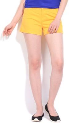 Flying Machine Solid Women's Yellow Basic Shorts