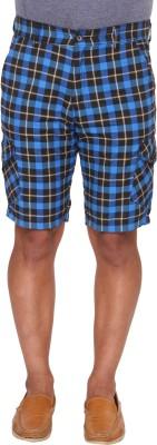 Ramarrow Checkered Men's Blue, Black, White Cargo Shorts