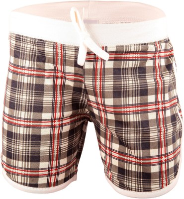 Bio Kid Checkered Girl's Multicolor Beach Shorts