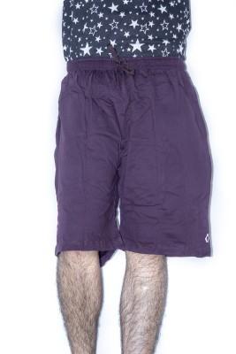Khaiber Solid Men's Purple Baggy Shorts