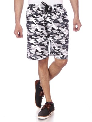 Shootr Printed Men's White Bermuda Shorts