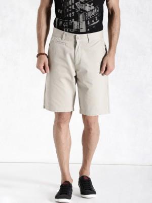 Roadster Solid Men's Beige Basic Shorts