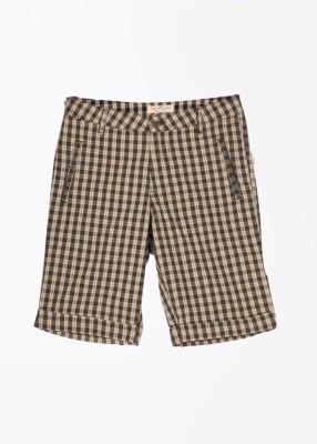 John Players Checkered Men's Grey, Beige Basic Shorts