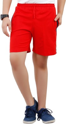 Fizzi Solid Men's Red Bermuda Shorts