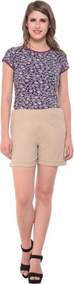 Nineteen Solid Women's Beige Basic Shorts