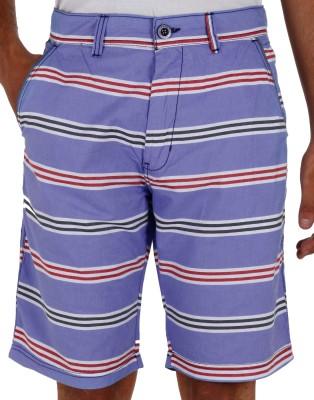 Faraday Striped Men's Blue Basic Shorts
