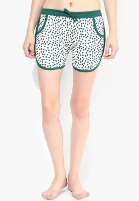 Red Rose Printed Women's White Bermuda Shorts