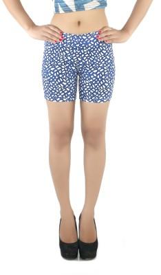 Pretty Angel Printed Women's Blue, White Hotpants