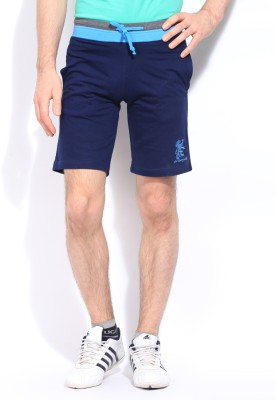 Chromozome Solid Men's Blue Sports Shorts