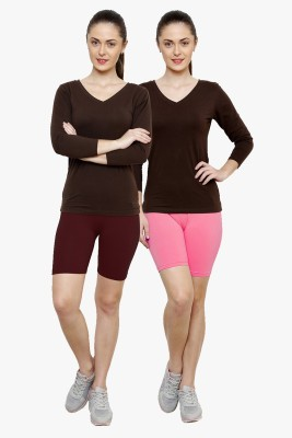 Softrose Solid Women's Maroon, Pink Cycling Shorts