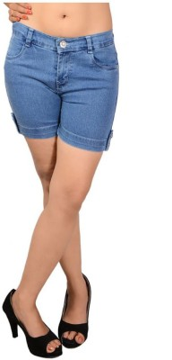 Ganga Solid Women's Denim Blue Denim Shorts