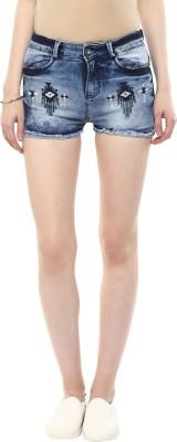 CODE 61 Self Design Women,s Light Blue Denim Shorts