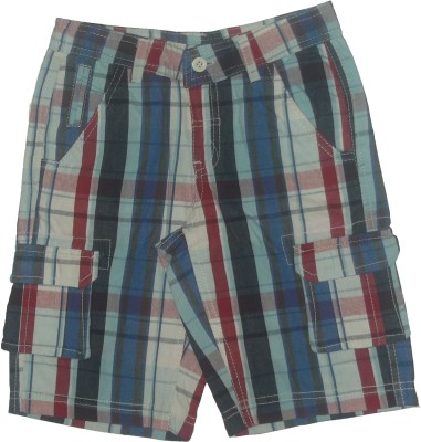 Red Rose Checkered Boys Multicolor Cargo Shorts