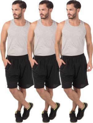 Meebaw Self Design Men,s Black, Black, Black Sports Shorts