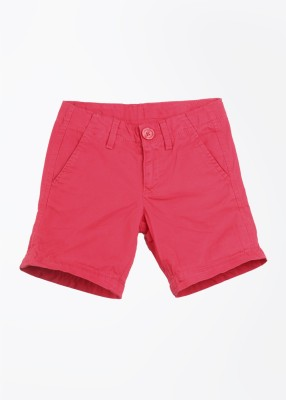 United Colors of Benetton Solid Baby Girl's Pink Basic Shorts