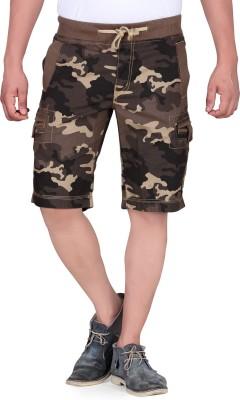 King & I Printed Men's Brown Chino Shorts