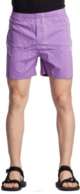 Beevee Solid Men,s Purple Basic Shorts