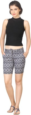 True Fashion Graphic Print Women's Denim Grey Denim Shorts