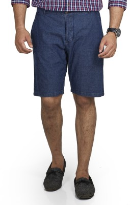 Inspired By Boardriding Solid Men's Denim Dark Blue Basic Shorts