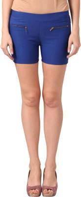 Vostro Moda Solid Women's Blue Basic Shorts