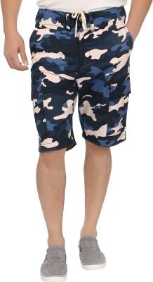 Blimey Animal Print Men's Blue, Gold Cargo Shorts