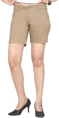 Dragaon Solid Women's Beige Basic Shorts