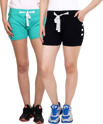 Yogaandsportswear Solid Women's Green, Black Basic Shorts