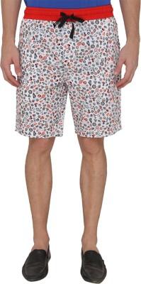 Jadeblue Printed Men's White Bermuda Shorts