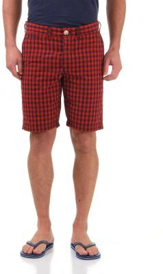 Jack & Jones Checkered Men's Red Basic Shorts
