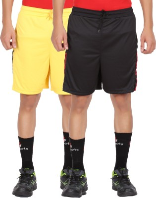 Lyril Solid Men's Yellow, Black Sports Shorts