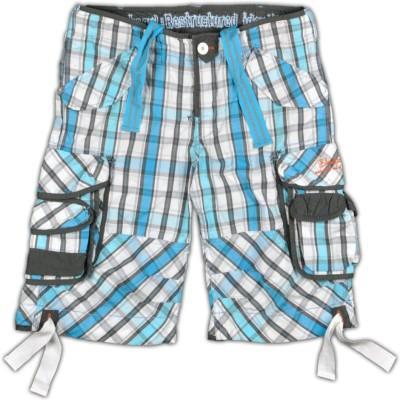 Blacksoul Checkered Men's Blue, White Cargo Shorts