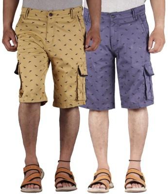 FBM Printed Men's Multicolor Cargo Shorts