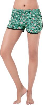 PrettySecrets Animal Print Women's Green Basic Shorts at flipkart