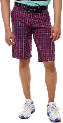 Sports 52 Wear Checkered Men's Red Basic Shorts