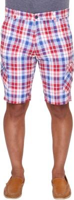 Ramarrow Checkered Men's Red, Blue, White Cargo Shorts