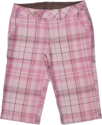 Bio Kid Checkered Girl's Pink Basic Shorts