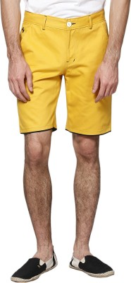 Haute Couture Solid Men,s Yellow Chino Shorts