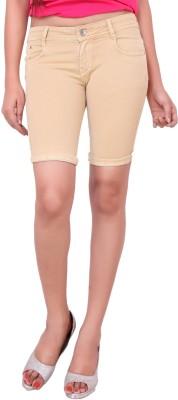 Airways Solid Women's Beige Denim Shorts