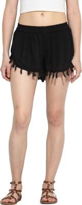 Paprika Solid Women's Black Culotte Shorts