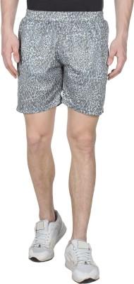 Creez Printed Men's Grey Sports Shorts