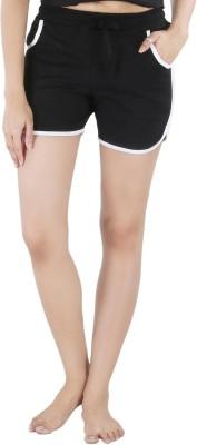 Nite Flite Solid Women's Black, White Night Shorts