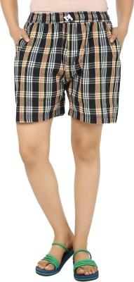 TeeMoods Checkered Womens Black, Yellow Basic Shorts