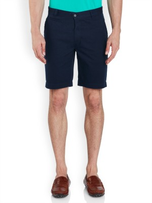 Park Avenue Solid Men's Dark Blue Basic Shorts