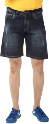 YOO Solid Men's Dark Blue Basic Shorts