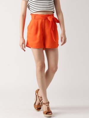 Dressberry Solid Women's Orange Basic Shorts