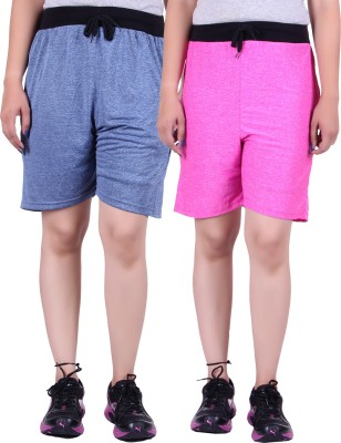 Gag Wear Solid Women's Dark Blue, Pink Denim Shorts at flipkart