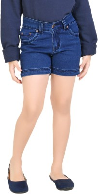 Clench Solid Girl's Blue Denim Shorts