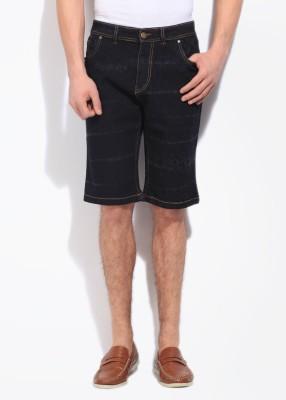 High Star Printed Men's Black, Grey Denim Shorts